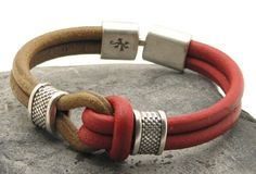 FREE SHIPPING Men's leather bracelet Tan and red leather sailor's knot bracelet silver plated spacers and leaf and lizard textured clasp