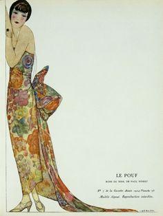 Le Pouf, robe du soir de Paul Poiret, 1924 - par Jean Bernier et Léon Bakst