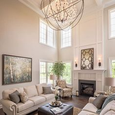 10 Comfortable Family Room Design Ideas We Want to Relax in All Day Long 10 Comf. 10 Comfortable Family Room Design Ideas We Want to Relax in All Day Long 10 Comfortable Family Room Home Fireplace, Living Room With Fireplace, Fireplace Design, Home Living Room, Living Room Designs, Living Room Decor, Two Story Fireplace, Fireplace Moulding, Tall Fireplace