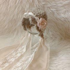 Newborn Hat Newborn Bonnet Photo Prop Lace Bonnet Tan by kirinati 31cd32c18b21