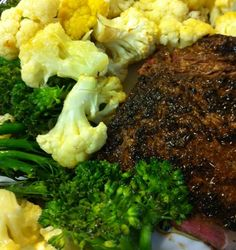 Pan-Grilled T-Bone Steak with Roasted Cauliflower and Broccoli--this could not have been simpler!  I used coconut oil instead and rib-eye steaks.  Yum!