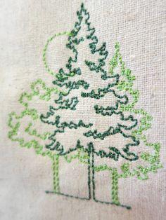 Beautiful embroidered trees on hemp