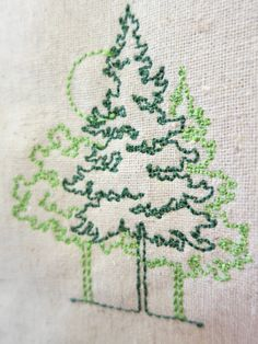 Beautiful embroidered trees on hemp