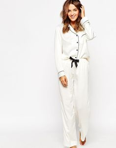 Bluebella Claudia Shirt & Trouser Pyjama Set - White #moda #style #sales