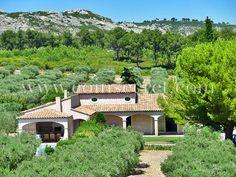 Location d'une villa avec piscine pour des vacances à Mouriès dans les Alpilles avec Coins Secrets. Vacation rental surrounded by olive trees in Provence, France.