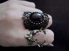 Black stone gothic ring and Deer ring