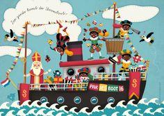 Zie ginds komt de Stoomboot uit Spanje weer aan. Een vrolijk kaartje van de Sint en zijn Pietjes op de Stoomboot vol pakjes.