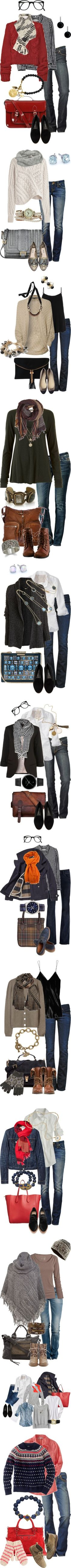 LOVE all of these looks. Blazers, cardigans, scarves, boots! Good stuff! Cold Weather Casual Cute