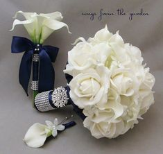 Navy White Bridal Bouquet Toss Bouquet Real Touch Roses Calla Lily Silk Stephanotis Groom's Boutonniere Pearl Rhinestone Accents Brooch