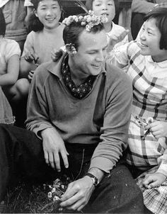 """Marlon Brando on location in Japan during the filming of """"The Teahouse Of The August Moon"""" circa 1955"""