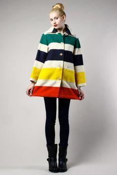 The blanket coat. Pendleton Blankets, Autumn In New York, Blanket Coat, Hudson Bay, New York Street, Fur Coat, That Look, Coats, Wool
