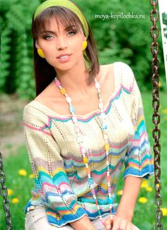 Очаровательный летний пуловер с зигзагообразным узором