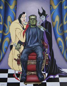 Disney Villlians Cruella De Ville and Maleficent With Frankenstein. Dark Disney, Disney Art, Disney Movies, Horror Villains, Disney Villains, Disney Characters, Disney Princesses, Disney Dolls, Disney Horror