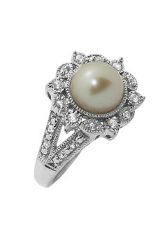 Fuzion Sterling Silver Pearl & Zirconia Ring-June - Beyond the Rack