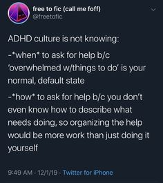 Thoughts on life with ADHD, anything from random factoids to everyday behaviors, from the pros and. Adhd And Autism, Add Adhd, Adhd Facts, Adhd Brain, Mental Disorders, Mental Health Awareness, Mental Illness, Memes, The Help