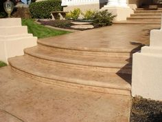 Natural earth tones for a spectacular entry for a luxury home in Roseville stamped concrete steps. Pin-it if you like this. Concrete Front Steps, Stamped Concrete Driveway, Concrete Driveways, Concrete Patio, Cement, Patio Steps, Garden Steps, Front Door Steps, Front Walkway