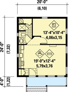 Vacation Getaway Cottage - 80674PM floor plan - Main Level