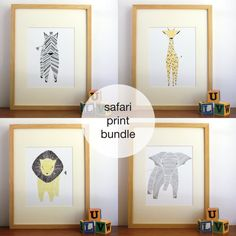 Listing is for 4 Safari Prints. Purchase all 4 together and save 9%!  1 Elephant Print 1 Zebra Print 1 Lion Print 1 Giraffe Print  Available Sizes: 8x10
