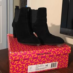 Boots Beautiful Tory Burch black suede ankle boots. Leather trim silver trim around bottom of heel. Excellent condition. Tory Burch Shoes Heeled Boots