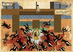 Classic Movies set into illustrations in style of islamic miniatures