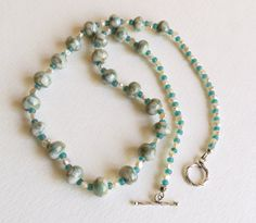 Lampwork Bead Necklace with Freshwater Pearls Blue by Smokeylady54