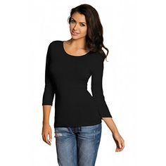 Damen 3 4 Arm Shirt Longsleeve Basic Shirt Rundhals Stretch-Viskose Bunte Farben   Gr. 32 bis 50, Farbe: Schwarz, Größe: 48-50