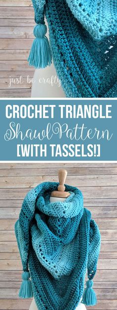 Crochet Triangle Shawl Pattern - Free Crochet Pattern by Just Be Crafty warm häkeln Crochet Triangle Shawl Pattern Poncho Au Crochet, Crochet Poncho Patterns, Crochet Shawls And Wraps, Crochet Scarves, Crochet Ideas, Crochet Cowls, Crochet Stitches, Triangle En Crochet, Triangle Pattern