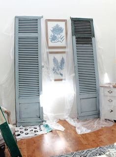 Painting Shutters, Green Shutters, Green Dresser, Vintage Shutters, Miss Mustard Seeds, Paint Line, Chalk Paint Furniture, Painted Floors, Milk Paint