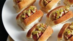 Sausages are sandwiched between dinner rolls for tasty appetizers – ready in 20 minutes.