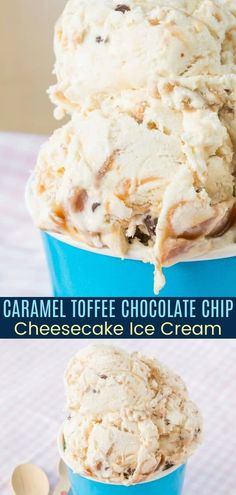 Toffee Caramel Cheesecake Ice Cream - an easy no-churn ice cream recipe flavored with tangy cream cheese and swirled with luscious caramel and bits of toffee and mini chocolate chips. Only 7 ingredients, a few minutes of prep time, and no ice cream machine needed. Ice Cream Cupcakes, Cheesecake Ice Cream, Chocolate Chip Cheesecake, Ice Cream Pies, Caramel Cheesecake, Chocolate Toffee, Chocolate Chips, Frozen Custard, Frozen Yogurt