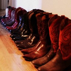 Treat collections like these cowboy boots as art.  When you're not wearing them, use them as a focal point in a long hallway or along a shelf.  They're too beautiful to hide away in a closet!