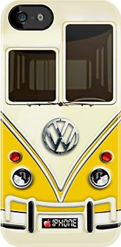 """""""Yellow Volkswagen VW with chrome logo iPhone 5, iphone 4 4s, iPhone 3Gs, iPod Touch 4g case"""""""