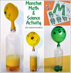 M is for Monster: Math & Science Preschool Activities Kids will love this self-inflating monster balloon experiment! It's part of a M is for Monster theme with preschool science and math. Letter M Activities, Monster Activities, Monster Crafts, Preschool Letter M, Science Experiments For Preschoolers, Preschool Science Activities, Science For Kids, Science Fun, Preschool Ideas