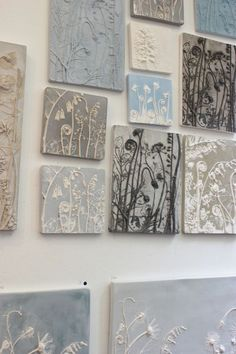 Making a Beautiful Impression - Tactile Studio at RHS Chelsea thousands of images about Fossils from Everyday Life: Plaster Cast Plant Tiles by Rachel Dein: Ceramic Wall Art, Tile Art, Ceramic Pottery, Ceramic Clay, Ceramic Plates, Clay Projects, Clay Crafts, Arts And Crafts, Plaster Art