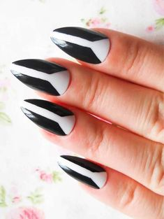 The almond shape is the best way to go for a lady-like nail and elongates fingers and also adds a feminine flare to shorter fingers. See here the amazing art of black and white almond shaped Acrylic nail art designs for women to use in 2018. This is one of the awesome to get cute hands' look.
