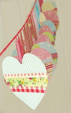 Inspiration: paper hearts with washi tape from lalibelula.