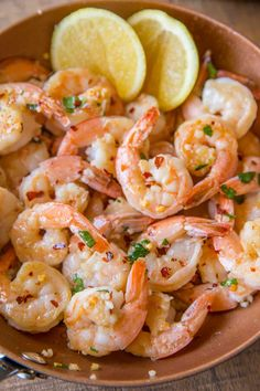 Spicy Lemon Butter Garlic Shrimp over Spaghetti Squash Pasta with red peppers, Parmesan Cheese and white wine for a healthy take on the Italian classic pasta dish for just 3 smart points per serving.