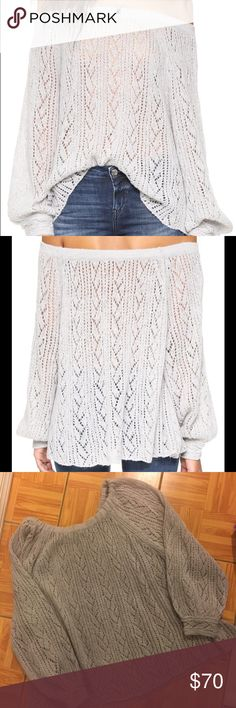 Free People Lights Will Shine Long Sleeve Sweater A slouchy Free People off-shoulder sweater in soft macramé. Elastic neckline. Long sleeves. Sheer. New Without Tags, never worn! Fabric: Macramé. 40% acrylic/30% nylon/20% wool/10% alpaca. Hand wash or dry clean. Free People Sweaters Crew & Scoop Necks