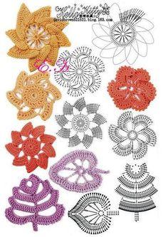 Häkelblumen / crochet flower ...  wer mit dieser Anleitung nicht klar kommt...  auf youtube bei Sheruknittingcom gibt es wunderschöne Bumen, Blüten, Blätter, Borten uvm. in englisch... aber sehr gut verständlich ;O)