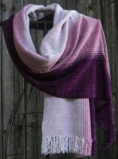 Pretty In Pink Handwoven Shawl/Wrap in Rayon Chenille by LuCook, $187.00