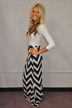 Chevron Tube Dress or Maxi Skirt Okay, so this chick needs a sandwich, but the outfit's cute!