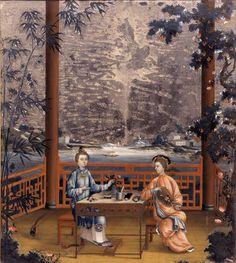 Mrs. and Miss Revell in a Chinese Interior, c. 1780 China Reverse painting on glass, wood