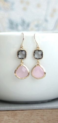 Pink and Grey Wedding Earrings. Pink Opal,Gold Trimmed Grey Glass Dangle Earrings By Marolsha.