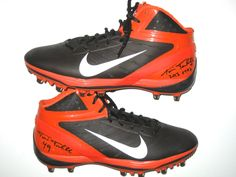 76314aee Travis Tannahill Cleveland Browns 2013 OTAs Worn & Signed Orange and Brown  Nike Cleats
