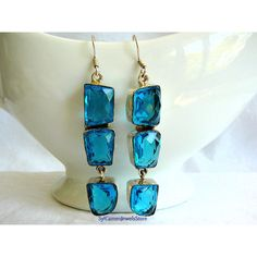 Dangle Drop Earrings Sterling Silver Setting with London Blue Color... ($25) ❤ liked on Polyvore featuring jewelry and earrings
