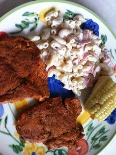 Sopa de coditos con jamon y piña Carne enchilada Elote con matequilla