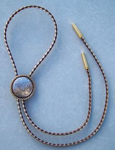 Silver with Gold Rope Edge Bolo Tie - Dressy Gold and Brown Cord - Classic Look on Etsy, $27.99