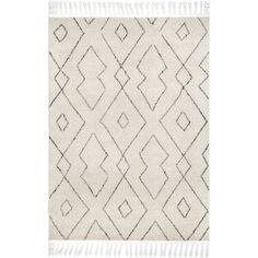 Shop The Curated Nomad Ashbury Contemporary Geometric Tassel Area Rug - On Sale - Overstock - 25555908 - x - ivory Area Rugs For Sale, Large Area Rugs, Wool Area Rugs, Affordable Area Rugs, Chevron Patterns, Area Rug Sizes, Cow Hide Rug, White Area Rug, Online Home Decor Stores