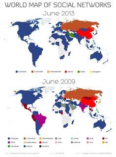 World Map of Social Networks (2013 vs 2009)