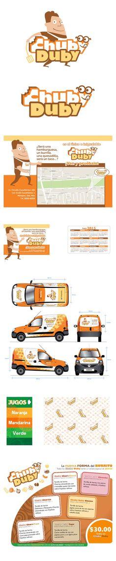 Cliente: Chuby Duby  Diseño de logotipo, diseño de personaje complementario a logotipo, calendario, rótulo de auto, envoltura para producto, volante-flyer, folleto, entre otros.